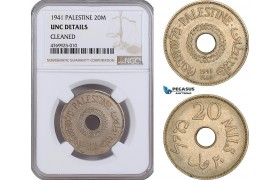 AE886, Palestine, 20 Mils 1941, London, NGC UNC Det., Rare!