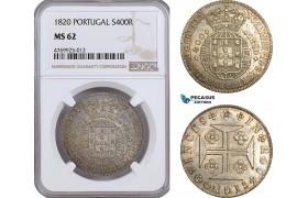 AE888, Portugal, Joao V, 400 Reis 1820, Lisbon, Silver, NGC MS62