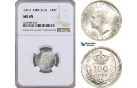 AE889, Portugal, Emanuel II, 100 Reis 1910, Silver, NGC MS65