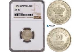 AE890, Romania, Carol I, 50 Bani 1876, Brussels, Silver, NGC MS63, Rare!