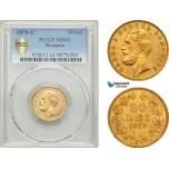 AE891, Romania, Carol I, 20 Lei 1870-C, Bucharest, Gold, PCGS MS63, Pop 1/1, Very Rare!