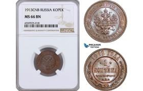 AE895, Russia, Nicholas II, 1 Kopek 1913, St. Petersburg, NGC MS66BN, Top Pop