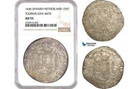 AE898, Spanish Netherlands, Tournai, Philip IV, Patagon 1646, Silver, Dav-4470, NGC AU55, Pop 1/0