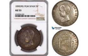 AE899, Spain, Alfonso XIII, 5 Pesetas 1890 (90) PGM, Madrid, Silver, NGC AU53