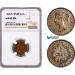 AE901, Straits Settlements, Victoria, 1/4 Cent 1845, NGC MS63BN