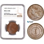 AE905, Straits Settlements, Victoria, 1 Cent 1895, NGC MS61BN