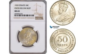 AE908, Straits Settlements, George V, 50 Cents 1920, Bombay, Silver, NGC MS65