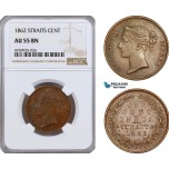 AE910, Straits Settlements, Victoria, 1 Cent 1862, NGC AU55BN