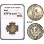 AE912, Swittzerland, 1 Franc 1887-B, Bern, Silver, NGC MS63