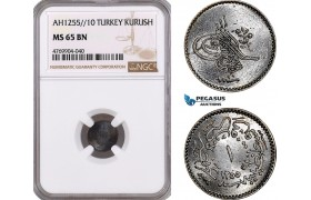 AE922, Ottoman Empire, Turkey, Abdul Mejid, 1 Para AH1255/10, NGC MS65BN, Pop 1/0 (Slab error as Kurush)