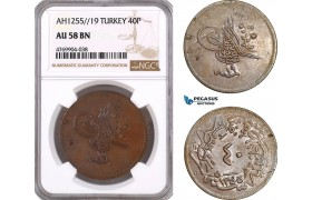 AE923, Ottoman Empire, Turkey, Abdul Mejid, 40 Para AH1255/19, NGC AU58BN, Pop 1/2