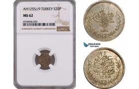 AE924, Ottoman Empire, Turkey, Abdul Mejid, 20 Para AH1255/9, Silver, NGC MS62, Pop 1/0