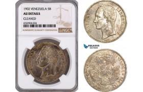 AE926, Venezuela, 5 Bolivares 1902, Brussels, Silver, NGC AU Det.