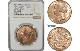 AE928, Canada, Nova Scotia, Victoria, Mayflower Penny Token 1856, NS-6A1, NGC MS65RB, Top Pop!