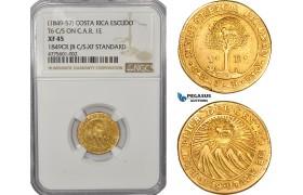 AE929, Costa Rica, 1 Escudo 1849, Gold, T6 C/S on C.A.R. 1E, NGC XF45