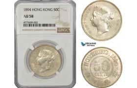AE931, Hong Kong, Victoria, 50 Cents 1894, Silver, NGC AU58
