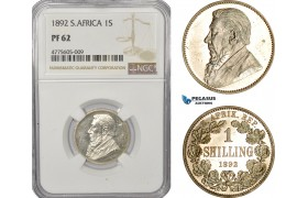 AE936, South Africa (ZAR) 1 Shilling 1892, Berlin, Silver, NGC PF62, Rare!