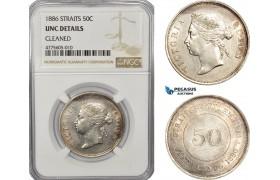 AE938, Straits Settlements, Victoria, 50 Cents 1886, Silver, NGC UNC Det.