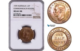 AE941, Australia, George VI, Half Penny 1939, Melbourne, Commonwealth Rev., NGC MS64+ RB, Top Pop!