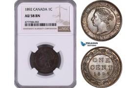 AE944, Canada, Victoria, 1 Cent 1892, London, NGC AU58BN