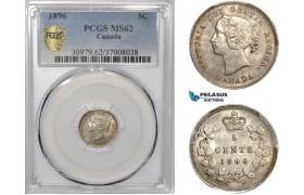 AE945, Canada, Victoria, 5 Cents 1896, London, Silver, PCGS MS62