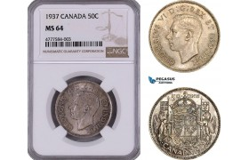 AE946, Canada, George VI, 50 Cents 1937, Silver, NGC MS64