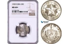 AE948, Cuba, 20 Centavos 1920, Philadelphia, Silver, NGC MS64+