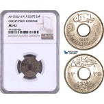 AE950, Egypt, Occupation Coinage, 2 Milliemes AH1335 / 1917, London, NGC MS63