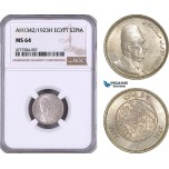 AE951, Egypt, Fuad, 2 Piastres AH1342 / 1923-H, Heaton, Silver, NGC MS64