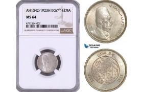 AE951, Egypt, Fuad, 2 Piastres AH1342 / 1923-H, Heaton, Silver, NGC MS64