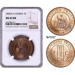AE954, French Indo-China, 1 Centime 1892-A, Paris, NGC MS65RB, Top Pop!