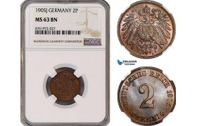 AE955-R, Germany, Wilhelm II, 2 Pfennig 1905-J, Hamburg, NGC MS63BN, Top Pop!