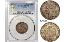 AE957, Greece, George I, 1 Drachma 1873-A, Paris, Silver, PCGS MS62