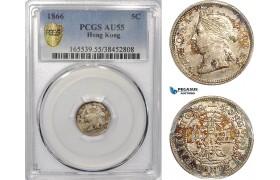 AE959, Hong Kong, Victoria, 5 Cents 1866, Silver, PCGS AU55
