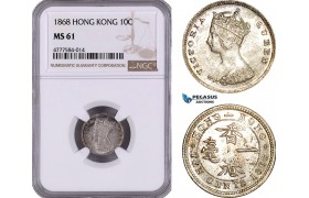 AE960, Hong Kong, Victoria, 10 Cents 1868, Silver, NGC MS61