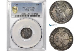 AE961, Hong Kong, Victoria, 10 Cents 1889, Silver, PCGS MS63