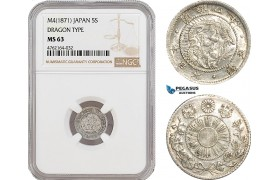 AE963, Japan, Meiji, 5 Sen M4 (1871) Silver, Dragon Type, NGC MS63