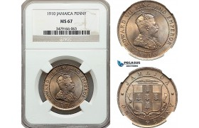 AE964, Jamaica, Edward VII, Penny 1910, London, NGC MS67, Top Pop!