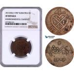 AE965, Netherlands East Indies, Sumatra, 2 Keping AH1202 / 1787, Soho, NGC XF Details.