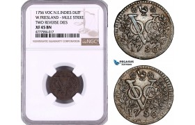 AE966, Netherlands East Indies, VOC, West Friesland Arms, 1 Duit 1756, Mule Strike, NGC XF45BN, Rare!