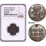 AE967, Netherlands East Indies, Batavian Rep., Overyssel Arms, 1 Duit 1806, NGC MS64BN, Pop 1/0, Rare!