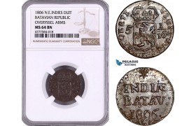 AE967, Netherlands East Indies, Batavian Rep., Overyssel Arms, 1 Duit 1806, NGC MS64BN, Pop 1/0, Rare!