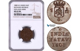 AE968, Netherlands East Indies, Batavian Rep., Holland Arms, 1 Duit 1808, NGC MS62BN