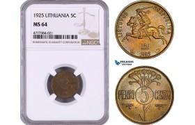 AE970, Lithuania, 5 Centai 1925, NGC MS64