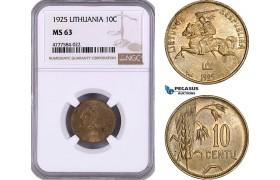 AE971, Lithuania, 10 Centu 1925, NGC MS63