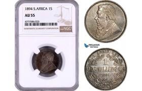 AE976, South Africa (ZAR) 1 Shilling 1894, Pretoria, Silver, NGC AU55