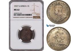 AE977, South Africa, George V, 1 Shilling 1927, Pretoria, Silver, NGC MS62, Rare!