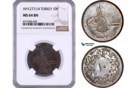 AE982, Ottoman Empire, Turkey, Abdul Aziz, 10 Para AH1277/4, NGC MS64BN, Top Pop!