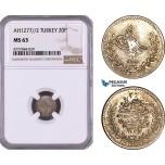 AE983, Ottoman Empire, Turkey, Abdul Aziz, 20 Para AH1277/2, Silver, NGC MS63, Pop 1/0