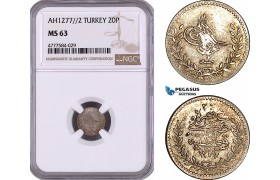 AE983, Ottoman Empire, Turkey, Abdul Aziz, 20 Para AH1277/2, Silver, NGC MS63, Pop 1/0